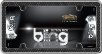 Black Button Tuck Crystal Bling License Plate Frame