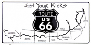 ROUTE 66 Get Your Kicks Metal License Plate
