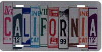 California Cut Style Metal License Plate