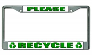 Please Recycle Chrome License Plate Frame