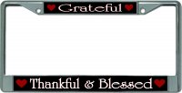 Grateful Thankful And Blessed Chrome License Plate Frame