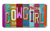 COWGIRL Cut Style Metal Art License Plate