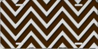 Brown And White Chevron Metal License Plate