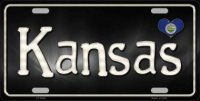 Kansas Flag Script Metal License Plate