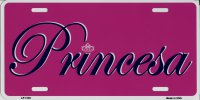 Princesa Princess Pink Metal License Plate