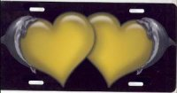 Dolphin Hearts (Yellow) Airbrush License Plate