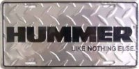 "Hummer ""Like Nothing Else"" Diamond License Plate"