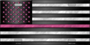 Thin Pink Line With Pink Stars Metal License Plate