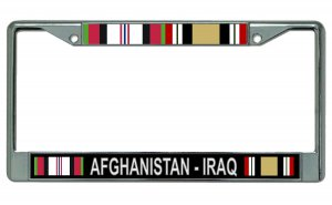 Afghanistan - Iraq Veteran Chrome License Plate Frame