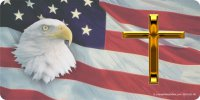 American Flag with Eagle and Cross Photo License Plate
