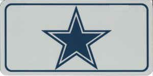 Large Silver Blue Star Photo License Plate