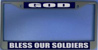 God Bless Our Soldiers Photo License Plate Frame