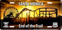 Route 66 End Santa Monica Metal License Plate