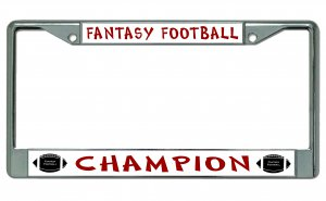 Fantasy FOOTBALL Champion Chrome License Plate Frame