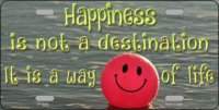 Happiness Way Of Life ... Smiley Ball Metal License Plate