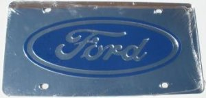 Ford with Dark Blue Logo Laser Cut License Plate