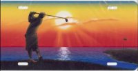 Golfer on Bluff (Multi-Color) Airbrush License Plate