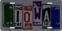 Iowa Cut Style Metal License Plate