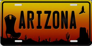 Arizona Sunset With Boot Silhouette Metal License Plate