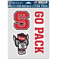 North Carolina State Wolfpack 3 Fan Pack Decals
