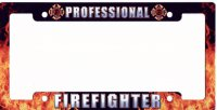 Professional Firefighter Metal License Plate Frame