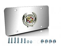 Cadillac Chrome Stainless Steel Classic Logo License Plate