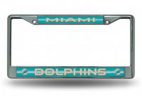 Miami Dolphins Glitter Chrome License Plate Frame