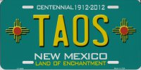 New Mexico Centennial Taos Metal License Plate