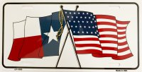 Texas Crossed U.S. Flag Metal License Plate