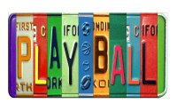 PLAY BALL Cut Style Metal Art License Plate
