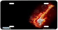 Electric Guitar Airbrush License Plate