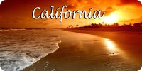 California Beach Scene Photo License Plate