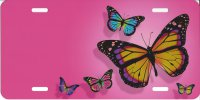 Offset Butterflies On Pink Metal License Plate