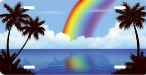 Palm Trees with Rainbow on Beach Scene License Plate