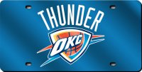 Oklahoma City Thunder Blue Laser License Plate