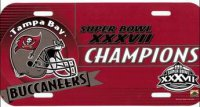 Super Bowl XXXVIII Champion Tampa Bay Buccaneers Plastic License