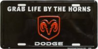 "Dodge ""Grab Life by the Horns"" License Plate"