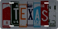 Texas Cut Style Metal License Plate