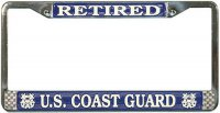 U.S. Coast Guard Retired Chrome License Plate Frame