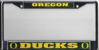 Oregon Ducks Green with Yellow Script Photo License Plate Frame