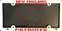 New England Patriots White Plastic License Plate Frame
