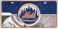 New York Mets Metal License Plate