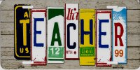 Teacher Cut Style Metal License Plate