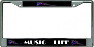 Music Equals Life Chrome License Plate Frame
