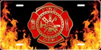 Fire Dept. Flames Airbrush License Plate