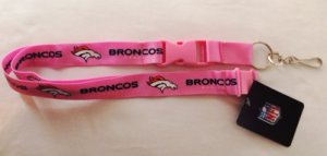 Denver Broncos Pink Lanyard With Safety Latch