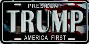 President Trump America First Metal License Plate