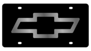 Chevrolet Bowtie Black Laser Cut License Plate