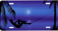 Man in Hammock on Blue Airbrush License Plate
