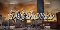 Oklahoma Sunset Skyline State Metal License Plate
